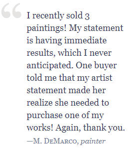Testimonial DeMarco2 Writing the Artist Statement: Revealing the True Spirit of Your Work