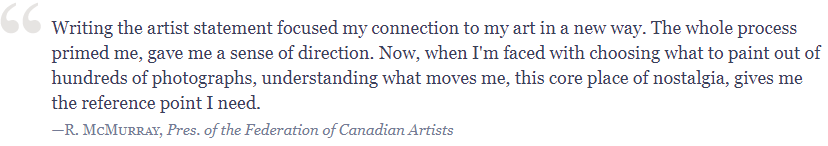 Testimonial McMurray Writing the Artist Statement: Revealing the True Spirit of Your Work